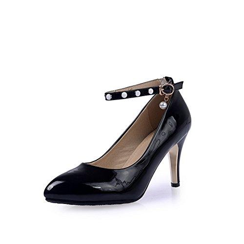 BalaMasa da donna fibbia high-heels a punta in gomma piena pumps-shoes, Nero (Black), 38