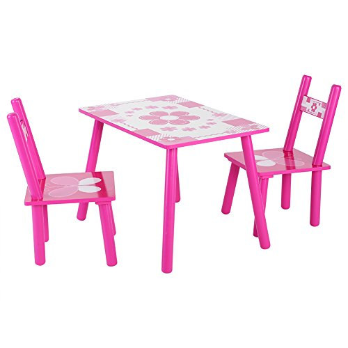 Yosoo Children Table and Chair Set, Wood Kids Toddler Playing Learning Painting Eating Playset Activity Indoor Outdoor ()