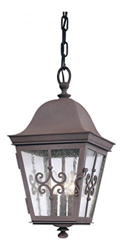 Three Light Weathered Bronze Hanging Lantern