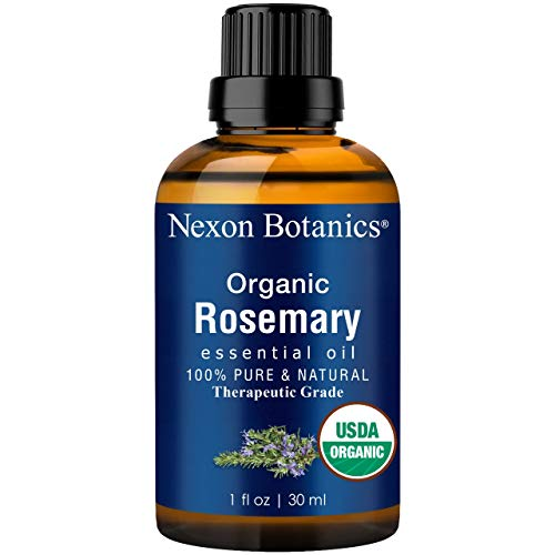 Nexon Botanics Organic Rosemary Essential Oil 30 ml - USDA Certified Pure, Natural Therapeutic Grade Rosemary Oil for Hair Growth - Great for Aromatherapy and Diffuser