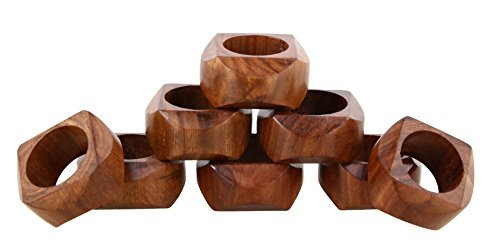 ShalinIndia Handmade Wedding Party Decorations Wooden Napkin Rings Set of 8 for Dinner Ideas -Napkin Holders