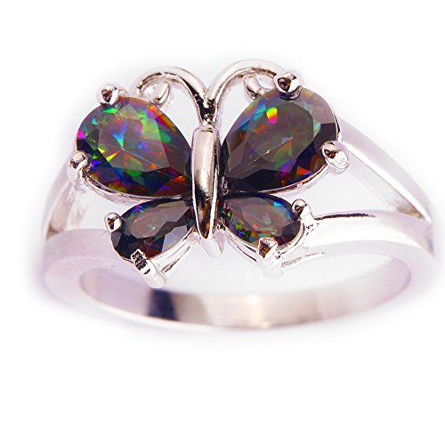 Rings Lab Created Gemstone - Psiroy 925 Sterling Silver Created Rainbow Topaz Filled Butterfly Ring Size 8