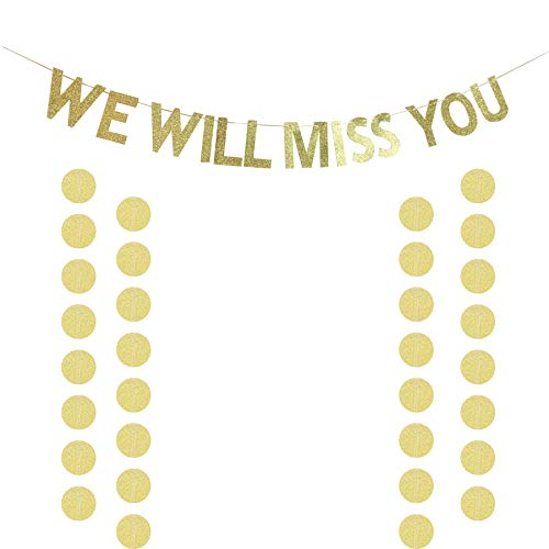 We Will Miss You Banner Glitter Gold Banner for Bon Voyage Goodbye Retirement Party Graduation Party Going Away Party Office Work Party Farewell Party Decorations Supplies -