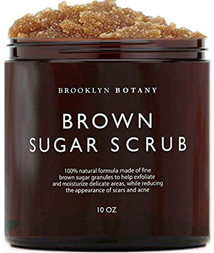 Smoothing Body Skin Exfoliator - Brooklyn Botany Brown Sugar Body Scrub - Great as Face Scrub & Exfoliating Body Scrub, Stretch Marks, Foot Scrub, Great Gifts For Women - 10 oz