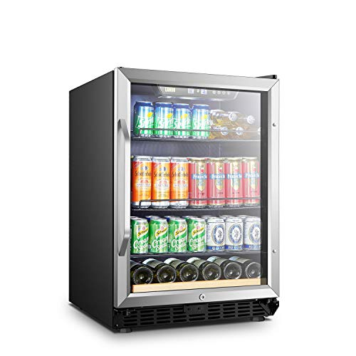 LANBO Beverage Cooler Refrigerator, 110 Cans 6 Bottles Built-in Compressor Drink Fridge with Double-Paned Tempered Glass Door (Glass Built In Door Refrigerator)