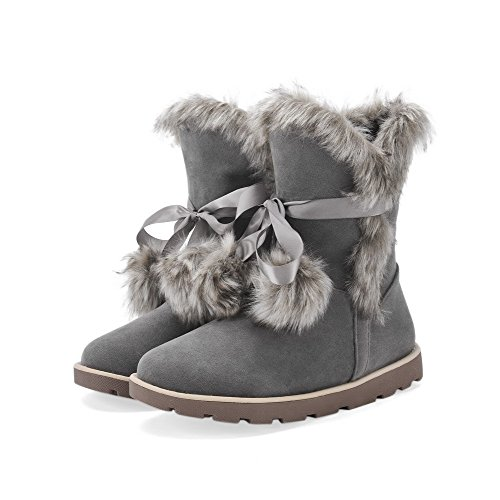 AgooLar Women's Low-Heels Solid Round Closed Toe Frosted Pull-On Boots Gray uT6eK