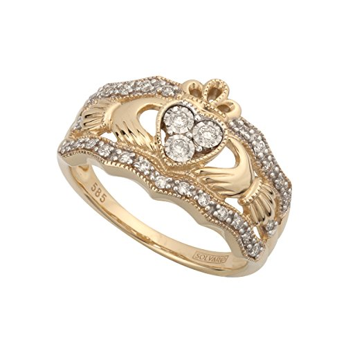 Solvar 14K Diamond Claddagh Ring, Size 9.5