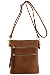 Functional Multi Pocket Cross Body Bag - 2 zipper pocket on front and 1 zipper pocket on back