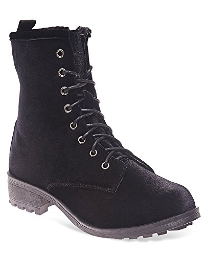 Charles Albert Women's Lace Up Lug Sole Velvet Combat Military Page Boot