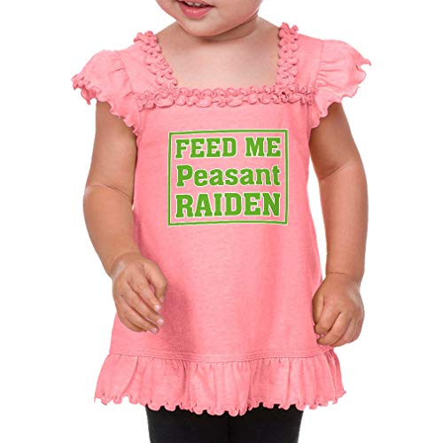 Feed Me Peasant Raiden Cotton/Polyester Short Sleeve Ruffle Scoop Neck Girl Toddler Sunflower Top Tee - Flamingo, 18 Months