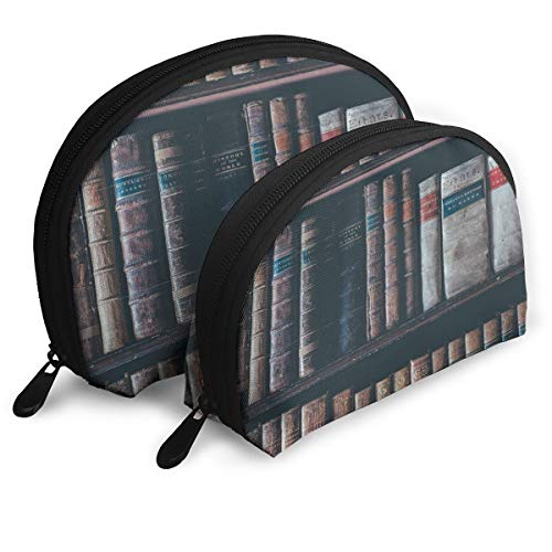 Makeup Bag Book Bookshelf Bookcase Old Book Portable Shell Pouch For Mother Halloween Gift 2 Pack -