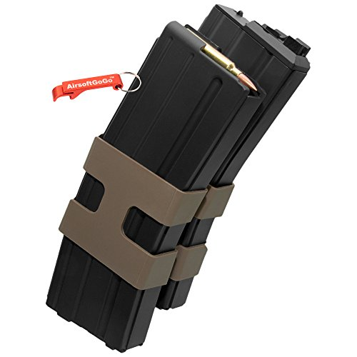 80rd Metal Double Magazine for WE M4 Airsoft GBBR (Black) - AirsoftGoGo Keychain Included by AirsoftGoGo