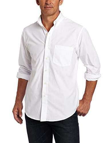 White Shirt Cotton - IZOD Men's Performance Natural Stretch Solid Long Sleeve Shirt (Regular and Slim Fit)