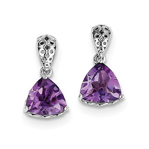 Best Designer Jewelry Sterling Silver Rhodium-plated Amethyst Earrings