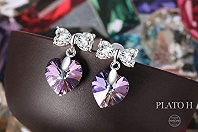 925 Sterling Silver Earrings for Women Heart French Earings – Crystal From Swarovski Jewelry Gifts for Girls Mother Ddaughter Allergen-Free
