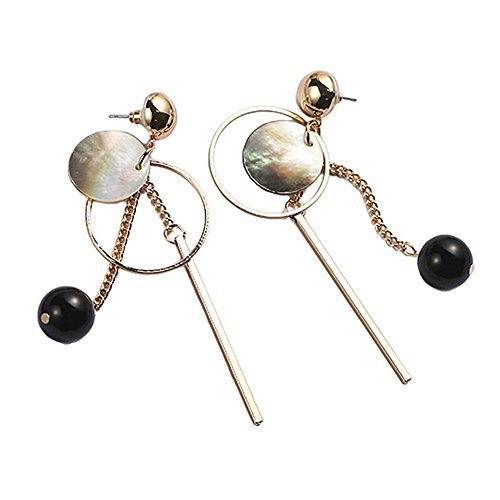 [Myun Statement Gold Tone Bar Round Shell Black Ball Drop Dangle Earrings Stud for Women Fashion] (Dark Heart Queen Halloween Costumes)