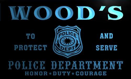 tk1078-b Wood's Police DEPT Department Badge Policemen Bar Beer Neon Light Sign by AdvPro Name (Image #3)