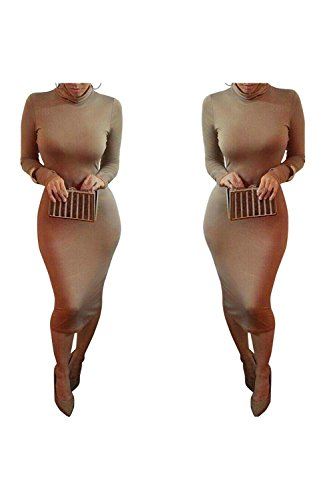 Dora Bridal Women's Turtleneck Long Sleeve Slim Bodycon - Womens Brown Western Dress