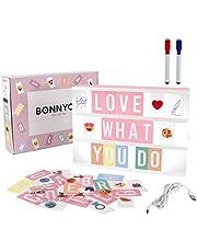 Led Lichtbak Roze met Letters, Emojis & Markers, USB - BONNYCO | Led Lightbox Decoratie Meisjes Kamer, Babyborrel, Verjaardagen & Kerstmis | Letterbak Nieuw Geschenk voor Meisjes en Vrouwen