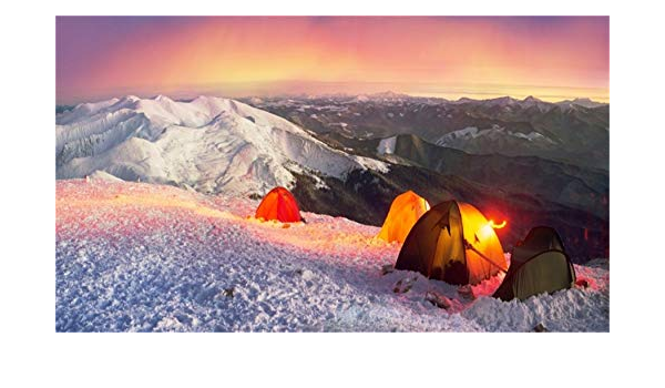 15x8ft Mountain Top Camping Scene Backdrop Polyester Morning Glow Green Tent Facing The Sun Remote Continuous Foggy Mountains Photography Background Adventure Exploration Child Adult Shoot