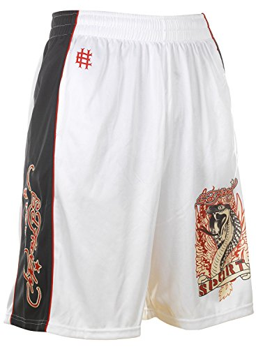 Ed Hardy Cobra Mesh Shorts - White - Small