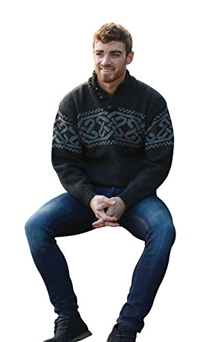 Celtic Sweater Charcoal 100% Lambswool, Extra Large ()