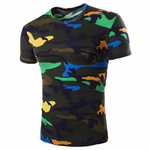 Men's Camouflage Military US Army Tactical O Neck Tee Shirt Dark green / XL