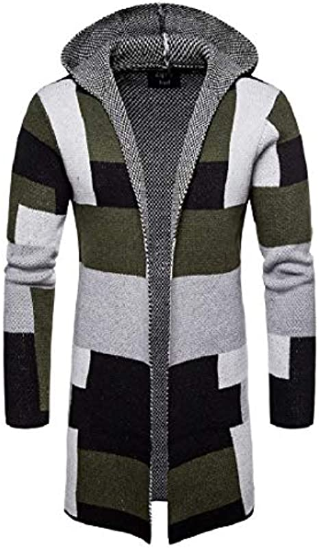 GRMO Men Open Front Hooded Contrast Color Classic Slim Fit Cardigan Sweater: Odzież