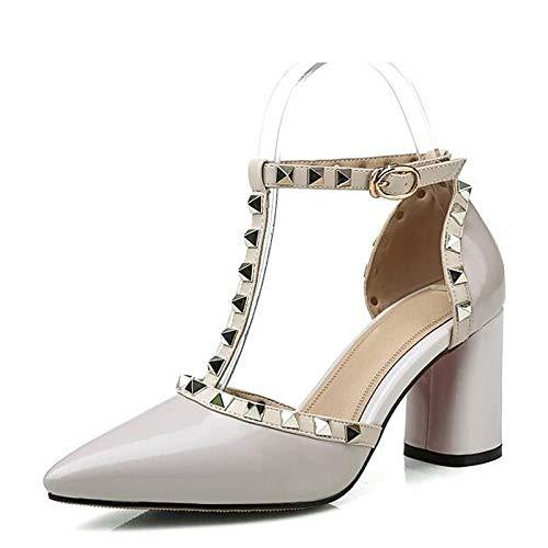 Black Blanco Zapatos ZHZNVX de Spring Chunky Negro Heel Comfort Nappa Tacones Mujer Leather Rojo awgq4wpO