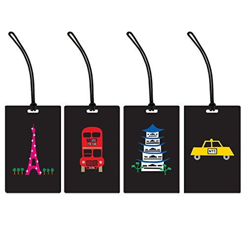 Around the World 4 Piece Luggage Tag Set, Paris London New York and Tokyo