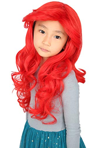 Topcosplay Ariel Wig for Kids Girls Child Halloween Costume Princess Cosplay Wigs Red Long Curly -