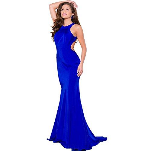 JVN by Jovani Womens Sateen Open Back Formal Dress Blue 10