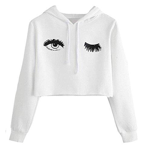 L'ananas-Women Hoodies Casual Drawstring Eyelashes Wink Blink Printing Long Sleeve Solid Sweatshirt Pullover Tops (CN-S/US-2, White)