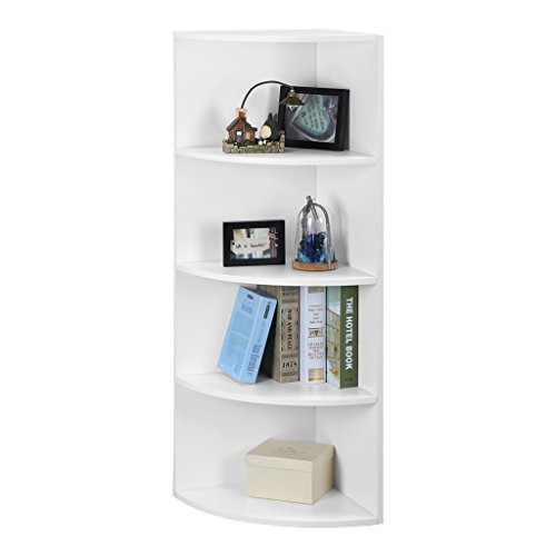 LANGRIA 5-Tier Corner Bookcase Shelf Mutipurpose Display Rack Organizer, Freestanding Modular Shelving, Casual Home Office Furniture, White Finish
