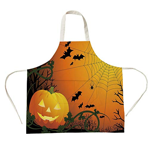 3D Printed Cotton Linen Big Pocket Apron,Spider Web,Halloween Themed Composition with Pumpkin Leaves Trees Web and Bats Decorative,Orange Dark Green Black,for Cooking Baking Gardening