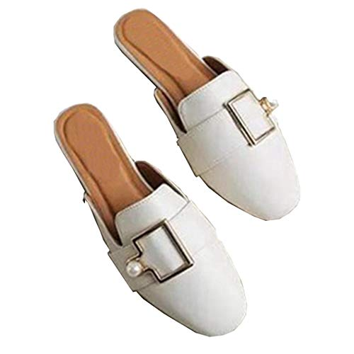 brokl Slippers Flat Women Casual Shoes Slip On Slides Pearl Buckle Square Toe Off - Lift 686