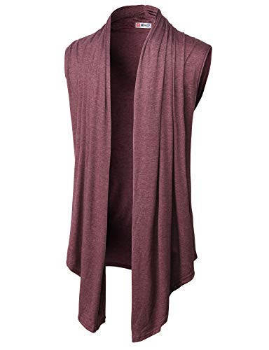 H2H Mens Casual Shawl Collar Open Front Sleeveless Long Cardigan Vest Burgundy US 3XL/Asia 4XL (CMOCASL01) ()