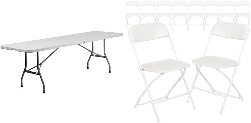 Flash Furniture 8-Foot Bi-Fold Granite White Plastic Banquet and Event Folding Table with Carrying Handle & 10 Pack Hercules Series 650 lb. Capacity Premium White Plastic Folding Chair