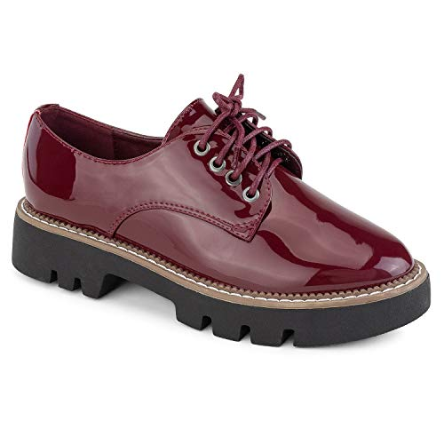 RF ROOM OF FASHION Women's Lace Up Lug Sole Platform Oxford Flat Shoes Burgundy - Shoes Up Platform Lace