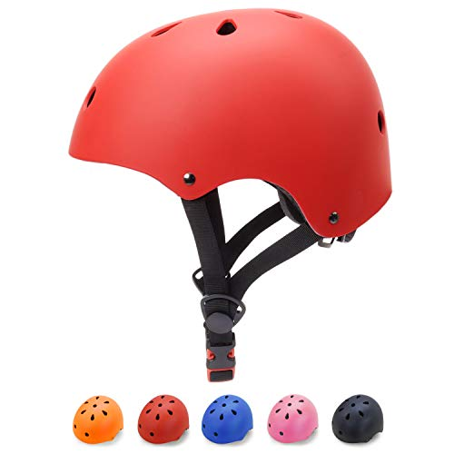 (Glaf Kids Bike Helmet Toddler Multi-Sport Skateboard Scooter Cycling Helmet CPSC Certified Impact Resistance Ventilation Adjustable Helmet for Kids Youth 3-14 Years Old +(Red, Medium))