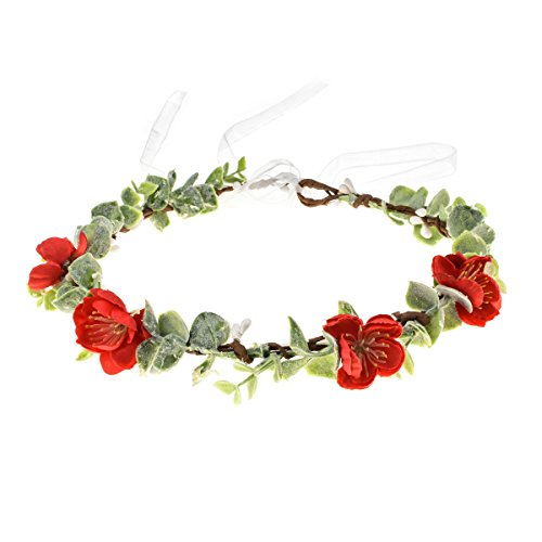Love Sweety Succulent Flower Crown Eucalyptus Halo Wedding Floral Headband Photo Prop (W-Red Sakura) ()