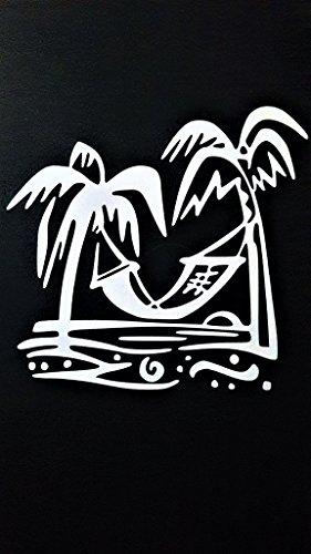 Beach Palm Trees Hammock Vinyl Decal Sticker|WHITE|Cars Trucks SUV Laptops Boats Kayak Wall Art|5.25