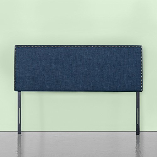 Zinus Upholstered Nailhead Rectangular Headboard in Navy, Queen