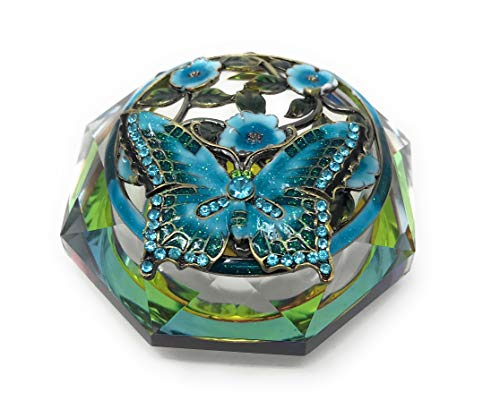 (Kubla Crafts Enameled Aqua Butterfly and Flowers on Cut Glass Trinket Box, Accented with Austrian Crystals, 3 Inches)