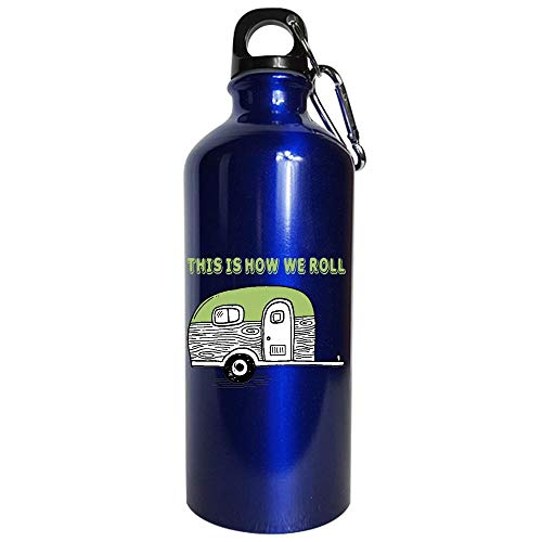 Funny Toilet - This Is How We Roll - Bathroom Restroom Lavatory Humor - Water Bottle Metallic Blue