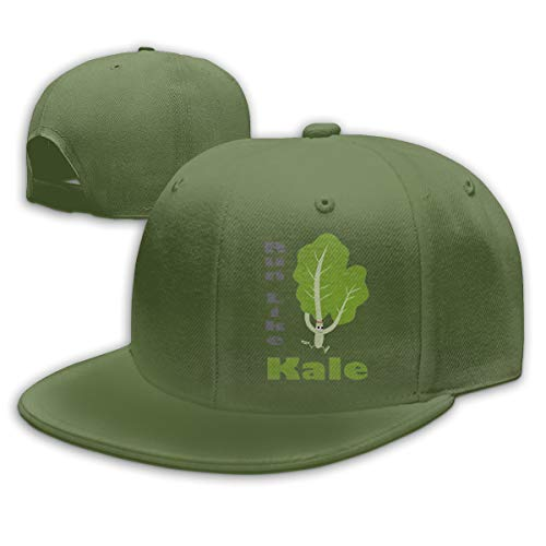 (FOOOKL Run Like Kale Flat Visor Baseball Cap, Fashion Snapback Hat Moss Green)