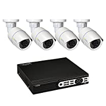 Q-See Surveillance System QT8516-4Z7-1 16-Channel HD IP NVR with 1TB Hard Drive, 4-4MP Security Cameras (White)