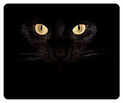 (Gaming Mouse Pad Oblong Shaped Black Cat Eyes Mouse Mat Design Natural Eco Rubber Durable Computer Desk Stationery Accessories Mouse Pads For Gift Support Wired Wireless or Bluetooth Mouse)