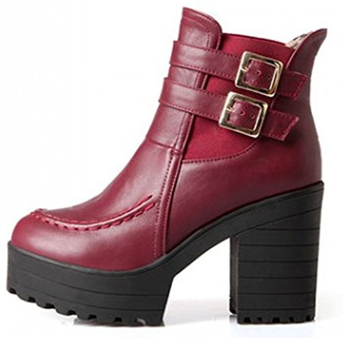 Idifu Mujeres Dressy Strap Hebilla Chunky High Heels Plataforma Martin Botines Rojo