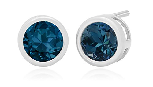 14k White Gold 6mm London Blue Topaz Round Bezel Gemstone Stud Earrings